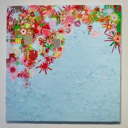 Bougainvillea Sky - 2010 | Found paper, Plastic, Acrylic on wood | 48 x 48 in | Private Collection, Camarillo, CA