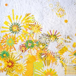 Good Day Sunshine - 2009 | Paper, plastic, and acrylic on wood | 30 x 36 in | Private Collection, Santa Barbara, CA