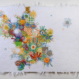 Mango Stars - 2009 | Found paper, plastic, and acrylic on panel | 45 x 55 in | Private Collection, Camarillo, CA