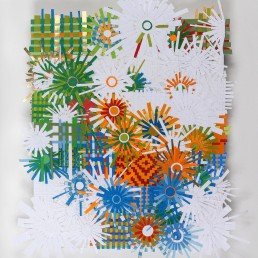Orange Eclipse - 2009 | Found paper, plastic, and acrylic on wood | 17 x 14 in | Private Collection, Washington, D.C.