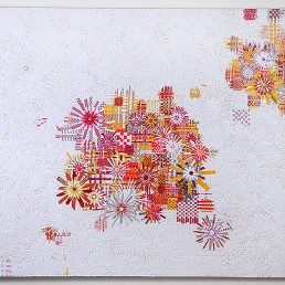 Snowflakes - 2008 | found paper and acrylic on wood | 48 x 60 in