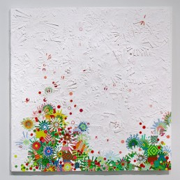 Strawberry Fields - 2010 | Found paper, plastic, and acrylic on wood | 48 x 48 in | Private Collection, Ventura, CA