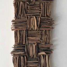 Criss Cross – 2017 | Eucalyptus tree bark, acrylic medium, wood glue on wood panel | 22 x 9 in