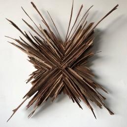 Exploded Sky – 2019 | Eucalyptus tree bark, acrylic medium, wood glue on wood panel | 24 x 24 in