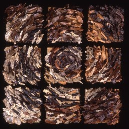 Artichoke – 1998 | Tree bark, acrylic medium and wood glue on nine wood panels | 51 x 51 in | Private Collection, Los Angeles, CA